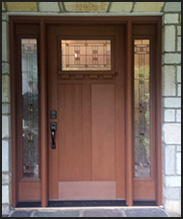 Clopay Craftsman entry door installed by Lizzie's Garage Doors